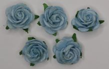 2.5cm LIGHT BABY BLUE Mulberry Paper Roses (only flower head)